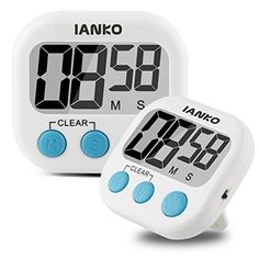 iAnko Digital Kitchen Timer- Magnetic Back and Retractable Stand -Large LCD Display Bold Big Font-Minute Second Count Up-down