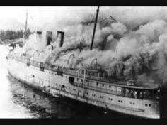 The CN's SS Prince George on fire just off Ketchikan, Alaska; after a fuel tank explosion; she was towed away from the dock and allowed to burn once the fire became uncontrollable. Halifax Explosion, Ketchikan Alaska, Atlantic Canada, Canada Eh, Canadian History, Cape Breton, Prince Edward Island, New Brunswick, Back In Time