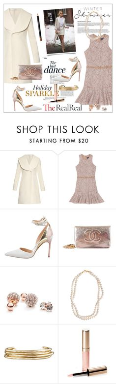 """""""Holiday Sparkle With The RealReal: Contest Entry"""" by fashiontake-out ❤ liked on Polyvore featuring J.W. Anderson, Lanvin, Anja, Manolo Blahnik, Chanel, GUESS, STELLA McCARTNEY, Jennifer Fisher and By Terry"""