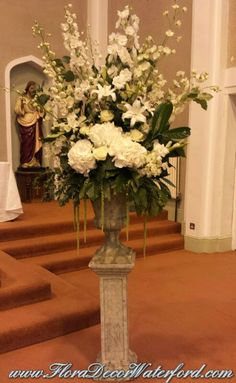 White Wedding Flowers Crooke Church Waterford. Rose, Calla, Freesia, Bouvadia Wedding Bouquet White Wedding Flowers, Church Wedding, Wedding Bouquets, Table Decorations, Rose, Home Decor, Pink, Wedding Brooch Bouquets, Bridal Bouquets