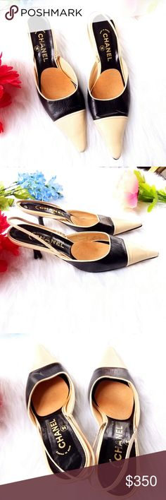 """Auth CHANEL Slingback shoes two tone 38.5 Classic authentic CHANNEL two tone slingbacks - low 2.5"""" kitten heel - size 38.5  ( 8.5 )- soft leather uppers in nude and black - pointed toe - in very good used condition with some wear on the toes and soles, overall great with a lot of life left in them. From a smoke free home. Offers are welcome :)  POSHG84888chanel87d6 CHANEL Shoes Heels"""
