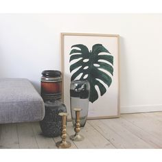 Nordic styling - living room with ceramic and the Monstera plant print - BY GARMI