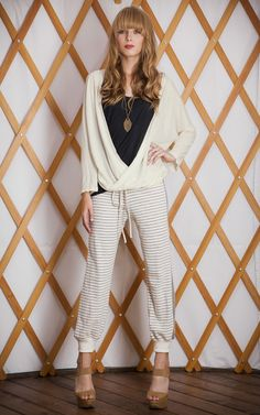 #THEODELLS #spring14 Slouch Wrap Top + Striped Sweats #fashion #style #spring #stripes