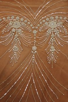 Platinum Beaded Crystal Floral Design on Beige Rose Tulle VERY EXPENSIVE