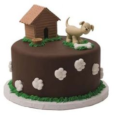#Dog #Paws and Bone #Cake With cute dog and dog house! We totally love and had to share! Great #CakeDecorating!