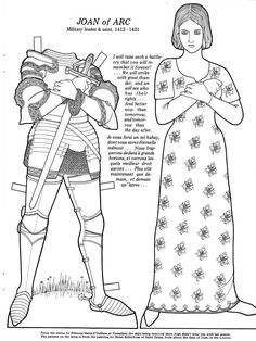 Great Women Coloring paper dolls - Joan of Arc - Maria Varga - Picasa Web Albums Saint Joan Of Arc, St Joan, Colouring Pages, Coloring Books, Jeanne D'arc, Paper Dolls Printable, Vintage Paper Dolls, Little Flowers, Great Women