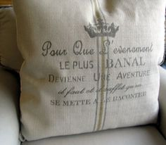 FRENCH CREST Vintage document 26x26 Super Large Pillow by yiayias, $65.00