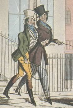 Regency dandies stepping out: high collar points, padded shoulders, corset to make small waist; satin striped or embroidered vest