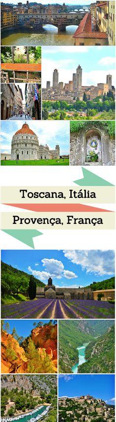Comparativo entre Toscana na Itália e Provença na França com análise de suas cidades, pontos turísticos, comida, tempo gasto e comida.