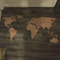 Wereldkaart hout - worldmap wood