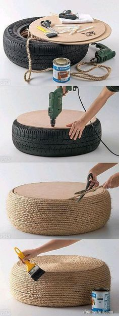 DIY home decor, accessories for home - Wohnaccessoires Ideen Diy Home Crafts, Diy Home Decor, Tire Furniture, Old Tires, Home Accessories, Diy Projects, How To Make, Handmade, Design