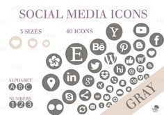 Social Media Icons Set Gray Download Social Media Buttons, Social Media Icons, Icon Set, Purple, Pink, This Or That Questions, Website, Blog, Etsy
