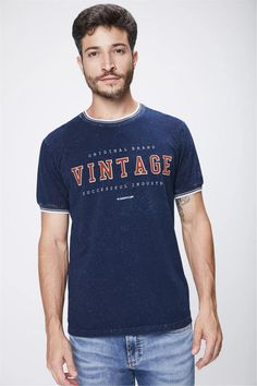 Camiseta-em-Malha-Denim-Masculina-Frente-- Mens Tops, T Shirt, Vintage, Fashion, Men's Denim, Mesh, Men's T Shirts, Girly, Moda