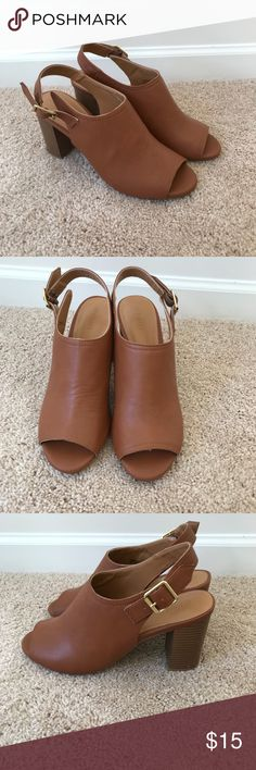 CUTE BROWN OPEN TOE  BOOTIES Very cute and stylish open toe brown faux leather booties. Perfect with a dress, skirt, or pants. Only worn once.  From a smoke and pet free home.  Measurements upon request. Old Navy Shoes Ankle Boots & Booties