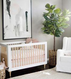 Very Cool Modern Pink Nursery, our Dusky Pink Garland would look super cool in this beautiful room : Nursery Inspo: Nursery Crib, White Nursery, Nursery Neutral, Girl Nursery, Girl Room, Crib Bedding, Baby Bedroom, Baby Room Decor, Nursery Decor