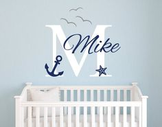 Name Wall Decal - Nautical Wall Decal - Nautical Baby Room Decor - Anchor Wall Decal - Nursery Wall Decals Vinyl Nautical Names, Nautical Nursery Decor, Baby Nursery Themes, Boys Bedroom Decor, Baby Boy Rooms, Baby Room Decor, Baby Boy Nurseries, Nautical Baby, Nursery Ideas