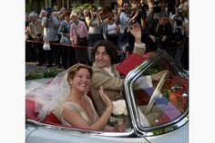 Justin Trudeau and Sophie Grégoire-Trudeau leave their wedding ceremony in style. The couple have two children, Xavier, and Ella, Celebrity Wedding Photos, Celebrity Weddings, Margaret Trudeau, Trudeau Canada, Justin James, Toronto Star, Royal Society, Justin Trudeau, Canada Day