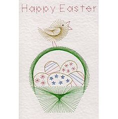 Easter basket of eggs | Easter patterns at Stitching Cards.