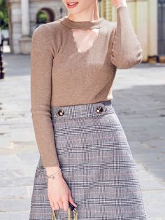 Apricot Plain Crew Neck Cutout Ribbed Casual Long Sleeved Top