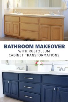 Rust-Oleum Cabinet Transformation Bathroom - Crafting in the Rain - - RustOleum Cabinet Transformations kit can be used on a bathroom vanity. See how to paint a navy bathroom cabinet for a fresh makeover. Bathroom Crafts, Diy Bathroom Remodel, Bathroom Renovations, Bathroom Interior, Home Remodeling, Bathroom Ideas, Bathroom Organization, Cheap Bathroom Makeover, Bathroom Storage