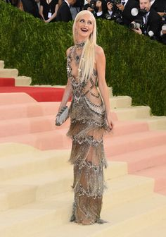 """Poppy Delevingne in Marchesa at """"Manus x Machina: Fashion in an Age of Technology."""" Photo by Getty Images."""