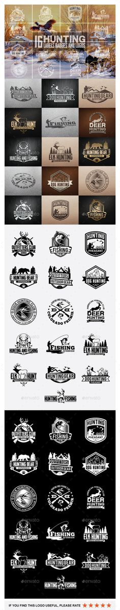 16 Hunting Badges and Logos - Badges & #Stickers #Web #Elements