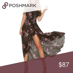 Off Shoulder Smocked Bodice Floral Maxi Dress Lightweight, breezy fabric in a gorgeous sandy beige floral pattern with a classic silhouette, trendy off shoulder style, and smocked sleeves and bodice for the perfect fit. A romantic dress you can easily wear anywhere from brunch to cocktail hour.   ❌ Sorry, no trades. fairlygirly Dresses Maxi