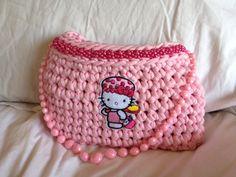 Kids handbag Crochet tshirt yarn trapillo zpagetthi handcrafted made in cape town Rangan Originals Hello Kitty