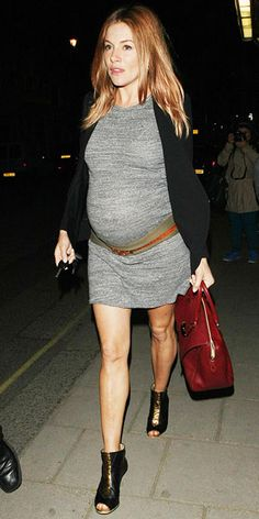 Sienna Miller's preggers style- love how she's draped the belt under her belly here. And those shoes really step up this entire look!