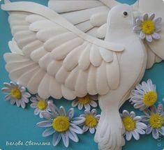 Картина, панно Бумагопластика, Квиллинг: Голуби ко дню любви, семьи и верности…
