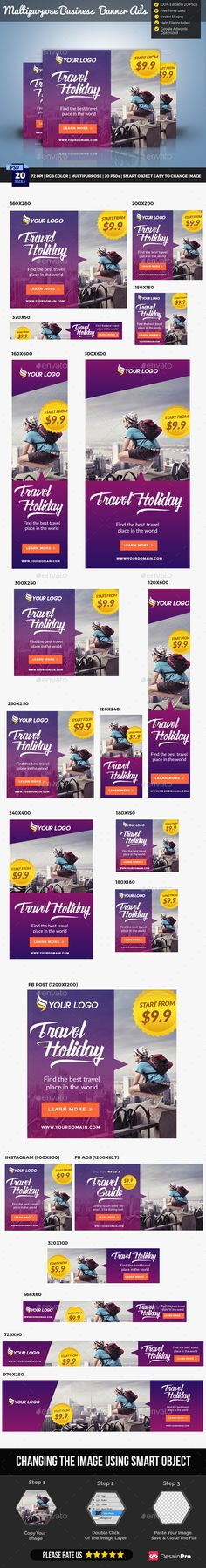 Travel Banner — Photoshop PSD #banners #holiday • Available here → https://graphicriver.net/item/travel-banner-/17757427?ref=pxcr
