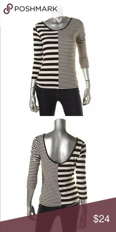 Barlll B/W Scoop Neck Striped Pullover Top XS Barlll B/W Scoop Neck Striped Pullover Top Shirt 3/4 length sleeves Bar lll Tops Blouses