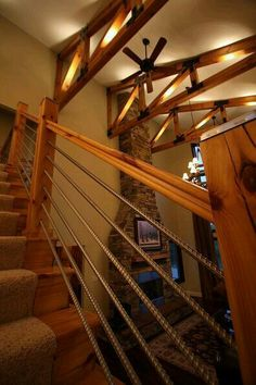A DIY cable rail staircase from rebar! (woodworking home cable rail staircase, stairs) I would prefer vertical rebar but yes! Rebar Railing, Staircase Railings, Stairways, Staircase Diy, Bannister, Stair Case Railing Ideas, Loft Railing, Rustic Staircase, Cable Railing