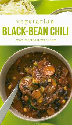 Vegetarian Black-Bean Chili | Martha Stewart Living - Talk about quick comfort -- this half-hour chili satisfies like the best of them, especially when topped with your favorite fixings.