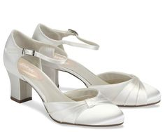 Low Heel Ivory With Ankle Strap Wedding Shoes, Maple | Georgie's Wedding Shoes
