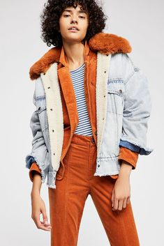 db186673080f Free People Levi S Oversized Sherpa Trucker Jacket - XS Faux Fur Collar