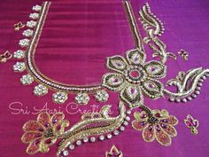 Advance Aari Embroidery Designer Courses, Saidapet in Chennai - UrbanPro Blouse Designs Catalogue, Kids Blouse Designs, Hand Work Blouse Design, Saree Blouse Neck Designs, Simple Blouse Designs, Bridal Blouse Designs, Hand Designs, Flower Designs, Blouse Patterns