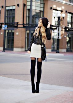 Leather jacket, thigh hi's & satchel.
