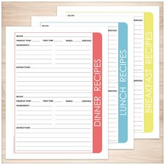 Color Category Recipe Pages BUNDLE - 3 pack - Printable