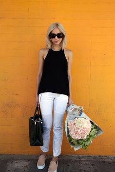 florals and white pants