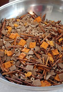 """For some reason homemade bits and bites always seems like a Christmas time treat. Which is a bit weird because there is really no """"Chri. Snack Mix Recipes, Chex Mix Recipes, Candy Recipes, Appetizer Recipes, Holiday Recipes, Cooking Recipes, Appetizers, Christmas Recipes, Christmas Baking"""