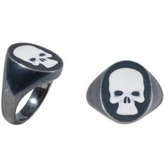 Deakin & Francis Blackened Silver Skull Signet Ring ($450) ❤ liked on Polyvore featuring jewelry, rings, fashion rings, multiple, silver rings, silver signet ring, skull rings, silver skull jewelry and skull jewellery