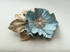 Sky blue leather flower brooch Leather brooch by JewelryWithTaste Leather Art, Leather Gifts, Leather Jewelry, Flower Girl Headbands, Flower Girl Gifts, Bride Flowers, Bridesmaid Flowers, Brooches Handmade, Handmade Flowers
