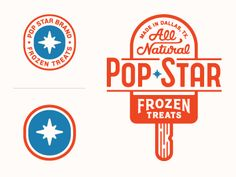 Logotype, badge and icon designs for a popsicle brand in Dallas by Richie Stewart