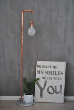 Kalklitir Doloriet, DIY copper pipe lamp, quote by Tebogo Mosiane