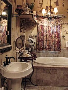 47 Magnificient Shabby Chic Bathroom Decor Ideas - Page 4 of 31 - BathroomRemodel Boho Style Bathroom, Shabby Chic Bathroom Decor, Boho Curtains, Boho Bathroom, Bathroom Decor, Beautiful Bathrooms, Chic Bathrooms, Bohemian Bathroom, Shabby Chic Bathroom