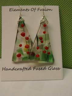 Festive Fused Glass Holiday Tree Earrings by elementsoffusion, $14.00