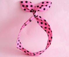 Dolly Bow HeadwrapHot Pink and Black Polka Dots by JooSweetie, $10.00