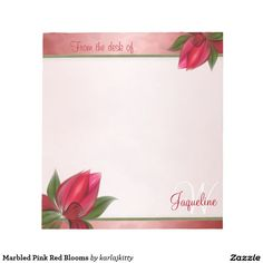 Marbled Pink Red Blooms Note Pad