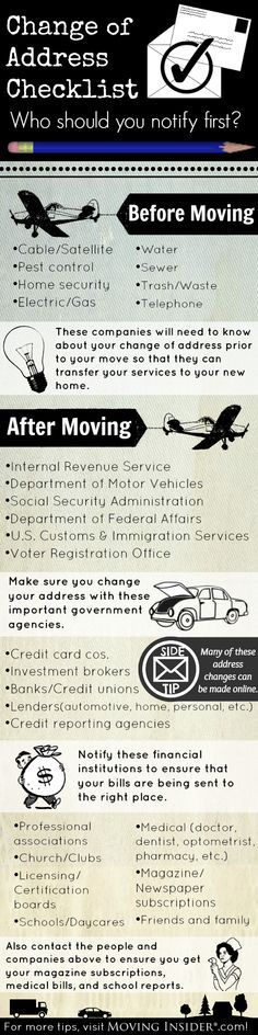 One step of moving that many people forget is changing their address. We've come up with a list of companies to notify when you move. More tips at http://movinginsider.com?utm_content=buffereab4d&utm_medium=social&utm_source=pinterest.com&utm_campaign=buffer!